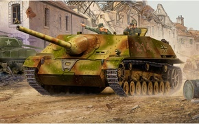 Картинка war, art, tank, ww2, jagdpanzer, german tank, panzer tank