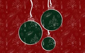 Картинка шары, текстура, Новый Год, Рождество, паттерн, украшение, Christmas, New Year, Xmas, Merry, 2016, Designed by, …