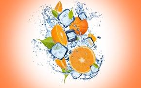 Картинка лед, вода, капли, апельсин, ice, оранжевый фон, water, дольки, orange, drops, cloves, orange background