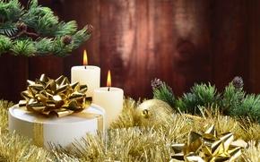 Картинка шары, елка, свечи, Новый Год, Рождество, мишура, Christmas, New Year, decoration