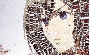 Картинка взгляд, девушка, лицо, надписи, аниме, Mikasa Ackerman
