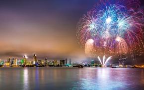 Картинка небо, ночь, город, огни, побережье, яхты, салют, США, катера, Сан-Диего