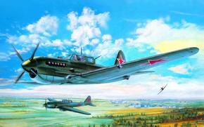 Картинка самолет, арт, штурмовик, конструкции, советский, двигателем, бронированный, охлаждения, воздушного, опытный, поршневым, Сухого., АМ-42, Су-6, П. ...