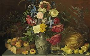 Картинка стакан, стол, рисунок, картина, ваза, натюрморт, живопись, графин, Хруцкий, Flowers and fruits, цветы и плоды, …