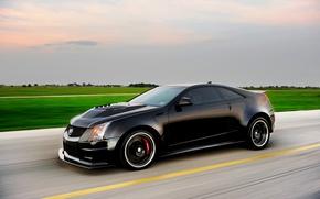 Картинка Cadillac, Авто, Тюнинг, Чёрный, Кадиллак, CTS-V, Hennessey, Купэ, В Движении