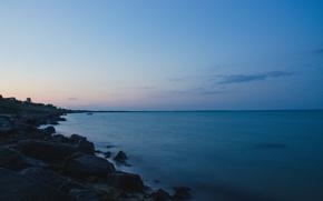 Картинка море, пейзаж, закат, берег, вечер, выдержка