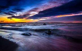 Картинка beach, sea, nature, clouds, longexposure