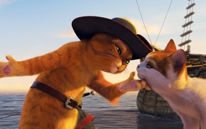 Обои кошка, кот, мультик, корабль, мультфильм, шляпа, набережная, шрек, шпага