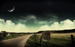 Картинка облака, коллаж, луна, Дорога