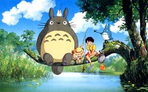 Картинка река, дерево, Тоторо, мой сосед тоторо, ghibli, хаяо миядзаки, Totoro, Satsuki Kusakabe, Сацуки Кусакабэ, удочки, …