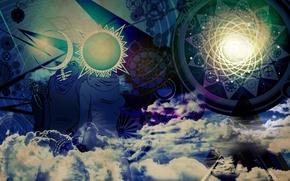 Картинка девушка, солнце, облака, круги, узоры, луна, треугольники, логотип, месяц, лого, арт, шестеренки, logo, парень, скелеты, …