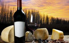 Обои осень, закат, природа, вино, бокал, бутылка, сыр, натюрморт