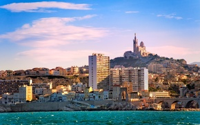 Обои гора, Франция, дома, побережье, море, дворец, Marseilles, камни