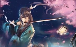 Картинка gintama, katsura kotaro, арт, парень, рыбы, самурай, вода, кровь, катана, лепестки, сакура, меч, фонарь, raku …
