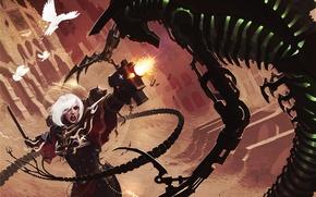 Картинка девушка, птицы, оружие, монстр, арт, битва, Necron, Warhammer 40 000, Sisters of Battle
