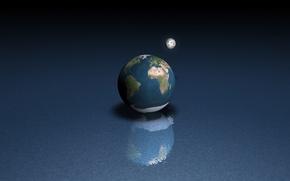 Обои луна, земля, вода