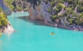 Картинка каноэ, лодка, каньон, горы, люди, ущелье, скалы, река