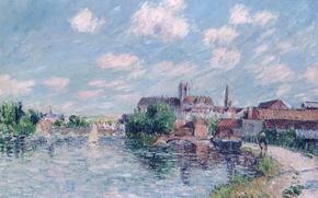 Картинка Гюстав Луазо, картина, Река Йонна в Осере, мост, дома, город, небо, река, пейзаж