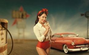 Обои ретро, рубашка, колонка, старая, штаты, заправка, техас, тело, 1950, девушка, шоколад, машина, америка, запад, винтаж