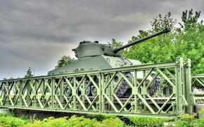 Картинка мост, войны, танк, бронетехника, средний, M4 Sherman, периода, мировой, Второй, «Шерман»