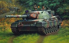 Картинка рисунок, танк, германия, Enzo Maio, бундесвер, леопард 1