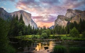 Картинка лес, небо, облака, деревья, горы, озеро, Yosemite National Park