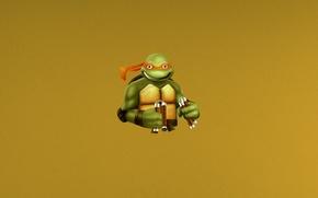 Обои минимализм, Turtles, Mutant, minimalism, Ninja, Teenage, Микеланджело, Черепашки, Michelangelo, ниндзя