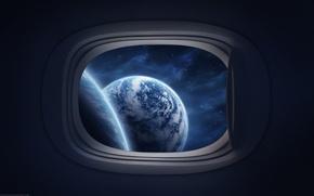 Обои видно космос, маленькое, окно
