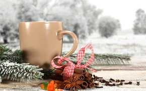 Картинка зима, снег, веточка, чай, кофе, лента, сосны, winter, snow, cup, coffee, tea, ribbon, cinnamon, pine ...