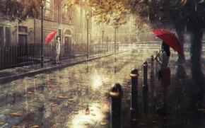 Картинка город, дождь, арт, Natsu
