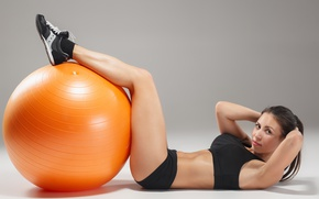 Обои ball, pose, female, workout, fitness, abs