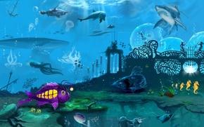 Картинка рисунок, Море, обитатели
