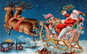 Картинка зима, игрушки, подарки, городок, сани, Санта Клаус, олени, открытка