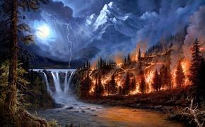 Картинка лес, пейзаж, река, пожар, огонь, стихия, молния, водопад, арт, Jesse Barnes, пожар в лесу