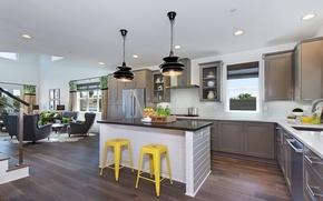 Картинка мебель, стулья, кухня, фрукты, светильники