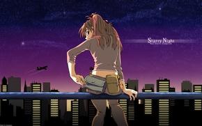 Обои asuka langly, Neon Genesis Evangelion, ночь, город