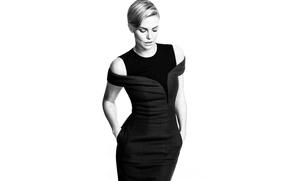 Картинка Charlize Theron, модель, фигура, платье, актриса, блондинка, белый фон, черно-белое, красотка, Шарлиз Терон