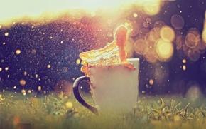 Картинка трава, блики, всплеск, чашка, боке, карамелька