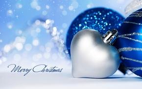 Картинка зима, снег, украшения, праздник, сердце, Happy New Year, heart, winter, snow, Merry Christmas, holiday, decoration, …