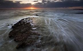 Обои море, восход, облака