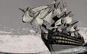 Обои Корабль, Серый, Море, Парусник