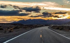 Картинка дорога, небо, пейзаж, утро