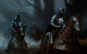 Картинка темно, кони, доспехи, войны, лошади, всадники, рыцари, горящие глаза