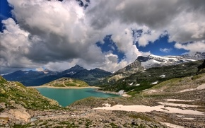 Обои облака, снег, горы, озеро