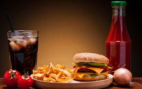 Обои лед, сыр, лук, овощи, помидоры, гамбургер, котлета, кетчуп, кока-кола, кунжут, фаст фуд, булочка, картошка, fast ...