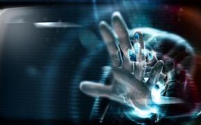 Картинка дизайн, абстракция, стиль, рука, ладонь, prototype, hi-tech, современность