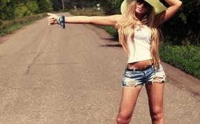 Картинка дорога, шляпа, автостоп