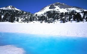 Обои река, горы, зима