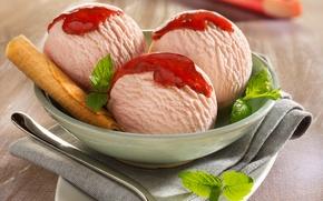 Картинка мороженое, стол, dessert, десерт, ягоды, розовое, ice cream, еда, сорбет, клубника