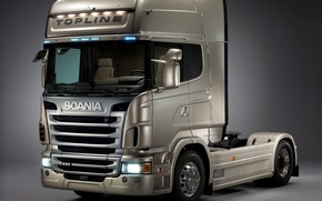 Картинка серый, грузовик, скания